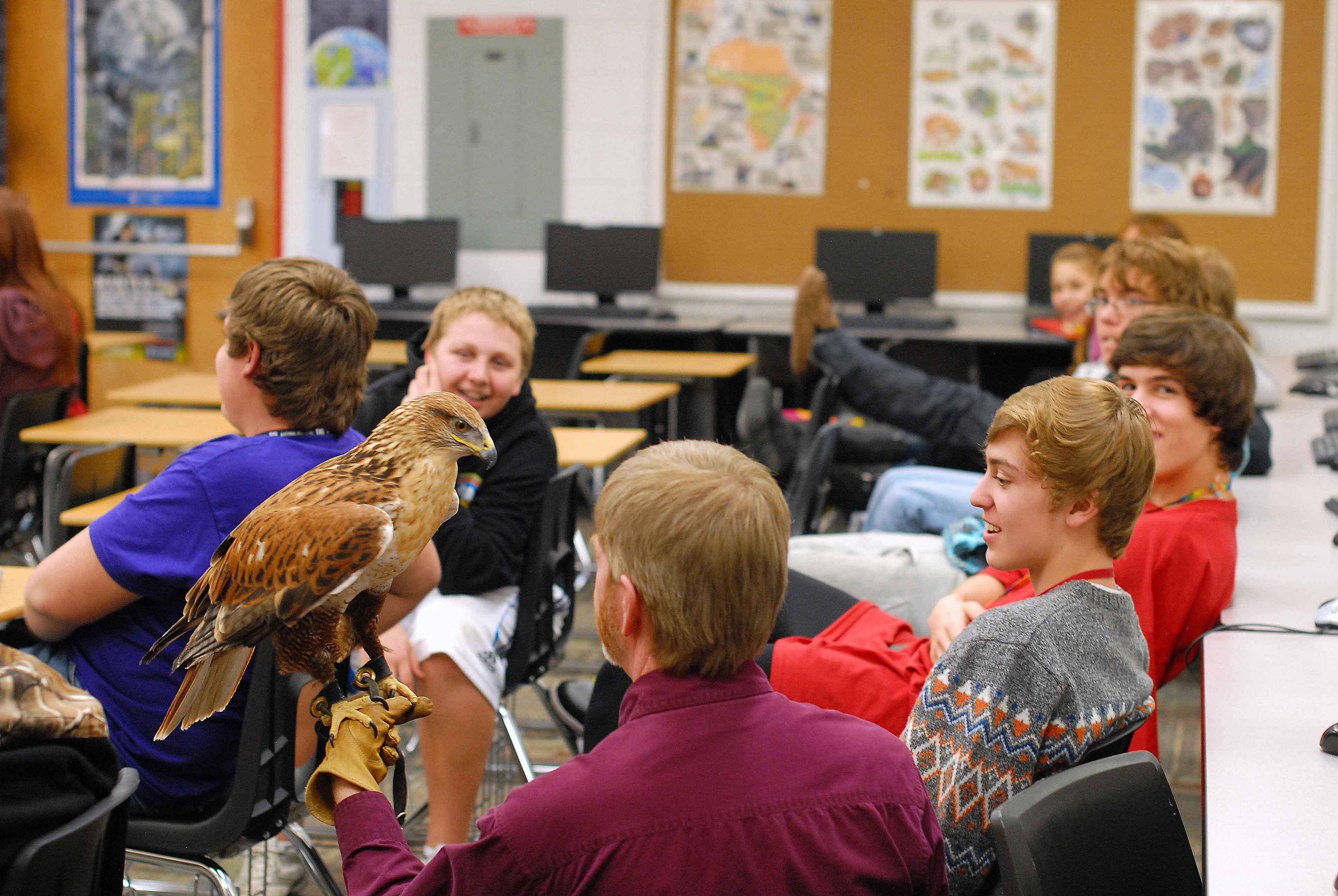 Phoenix visits a high school class